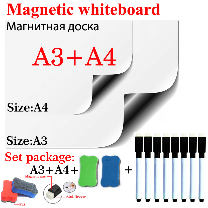 Magnetic Whiteboard Dry Erase White Board Flexible Pad Magnet Fridge Soft Home Office Kitchen A3+A4 Set Package 2 Eraser 8 Pen