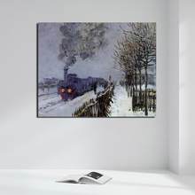 Claude Monet Train In The Snow Poster Vintage Canvas Painting Print Living Room Home Decor Modern Wall Art Oil Painting Pictures claude monet in the flower hd canvas painting print living room home decoration modern wall art oil painting posters picture art