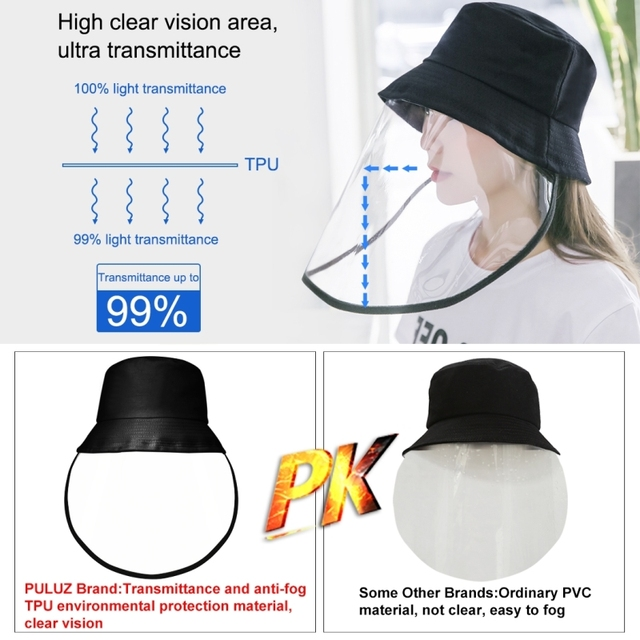 Transparent Mask Face Shield Anti-Saliva Splash Anti-Spitting Anti-Fog Protective Fisherman Hat Bucket hat Mask Removable 4