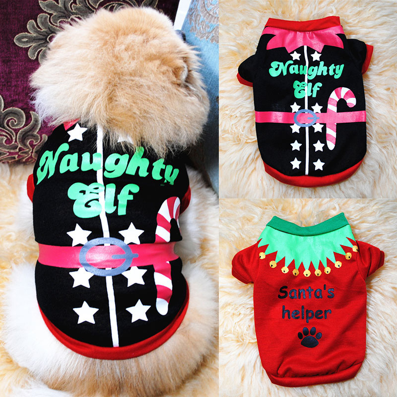 Soft Cozy Christmas Costume Short Sleeve Small Dog Clothes Shirt Puppy Accessory Pets Sweater Winter Warm Coral Fleece Durable