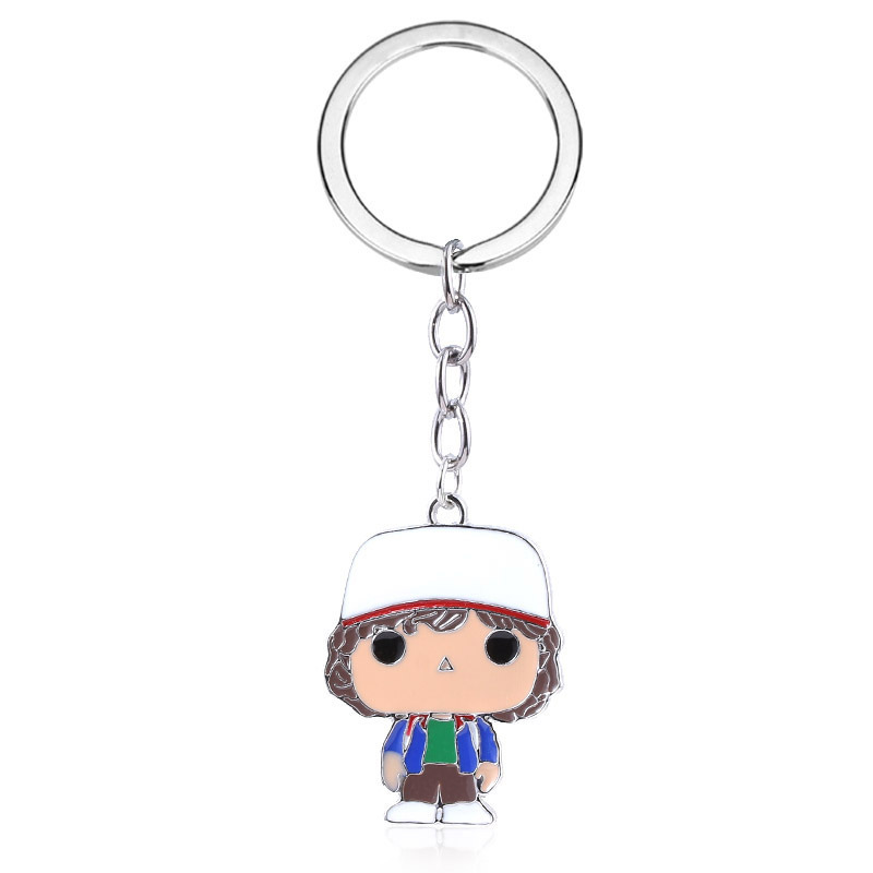 Lovely Stranger Things Keychain Cute Cartoon character keyring Pendant Thriller movie Dustin Charms fashion jewelry accessories image