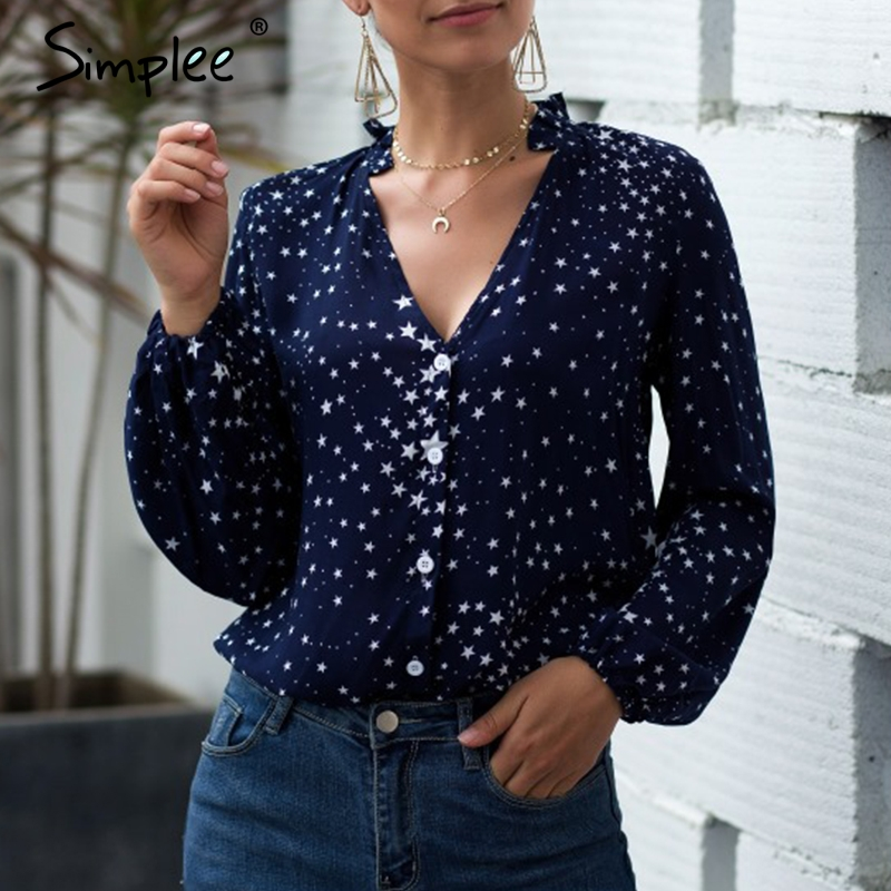 Simplee Sexy V-neck Women Autumn Blouse Elegant Star Print Long Sleeve Buttons Female Top Shirts Casual Office Wear Lady Blouses