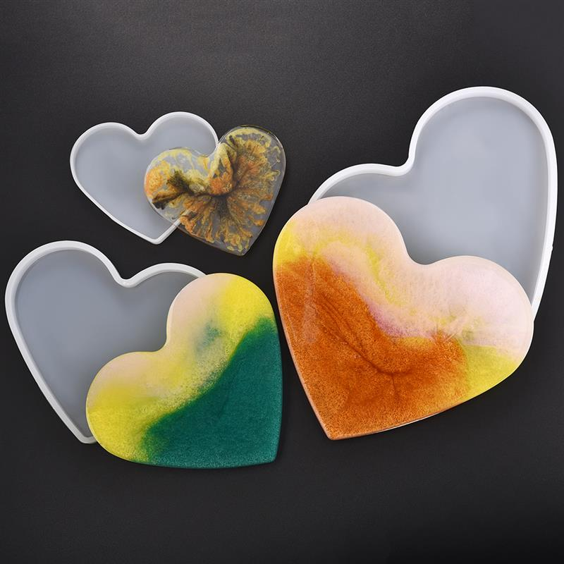 Heart Shape Coaster Silicone Molds Jewelry Making Tools For Resin Jewelry UV Epoxy Pressed Flower DIY Crafts