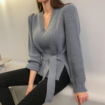 Ailegogo New 2020 Autumn Winter Women's V-Neck Sweaters Lace Up Tops Fashionable Korean Style Casual Solid Side Slit 3