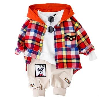 Spring Autumn Children Clothes Suit Baby Boy Girls Lattice Hooded Shirts Pants 2Pcs/sets Toddler Cotton Clothing Kids Tracksuits