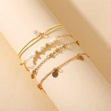 Модный жемчужный бисер браслет 4pes креативная Ретро минималистический