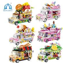 QUNLONG Friends For Girl Food Truck gelateria negozio di Hamburger City Street View Building Blocks mattoni amici giocattoli per auto regalo