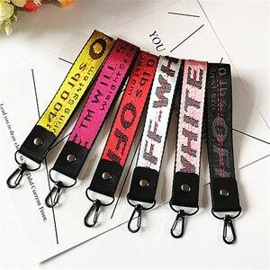 Off White Ribbon Keychain Women Phone Case Wallet key chain porte clef For Bag Key ring llaveros mujer sleutelhanger Chaveiro(China)