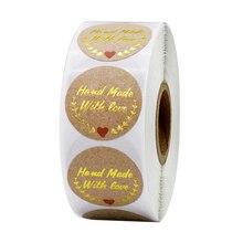 500шт наклейки, скрап свадебный подарок украшения стикер круглый крафт-бумага ручной работы с любовью этикетки канцелярские товары