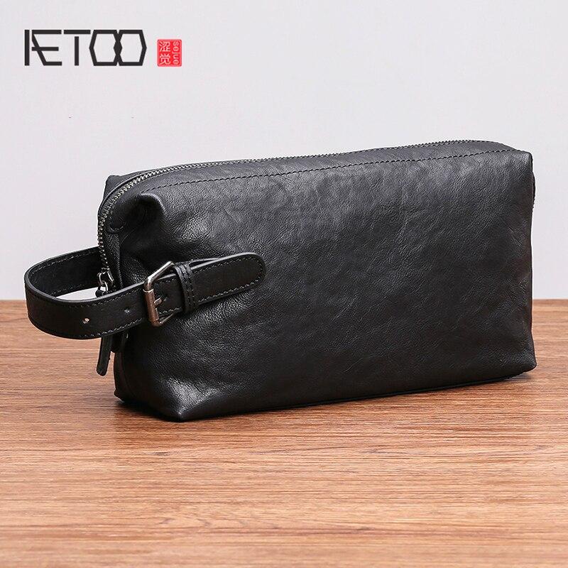 AETOO Handbag mens leather trendy fashion business casual mobile phone pack large capacity cowhide handbag