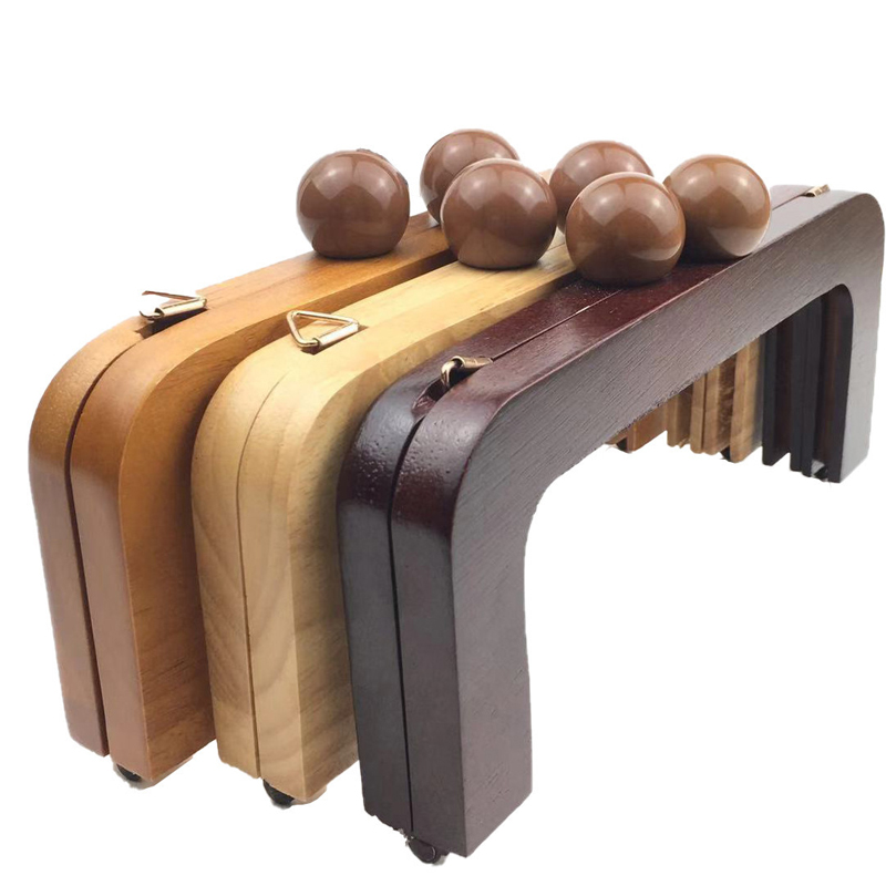 20cm Solid Wood Women DIY Bag Making Clasp Purse Frame Kiss Buckle 10pcs/lot