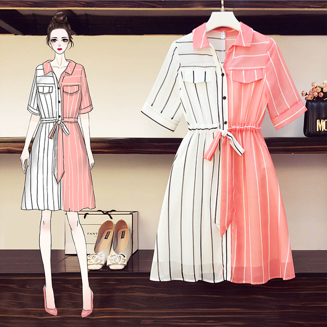 COIGARSAM 4XL Plus Size Chiffon Women dress New Summer Short Sleeve Dresses Red 8004 1