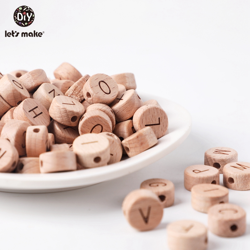 Let'S Make 50Pc Diy Handmaking Wooden Beads Round Beech Wood Alphat English Letter Beads For Rattles Baby Toys Wooden Teether