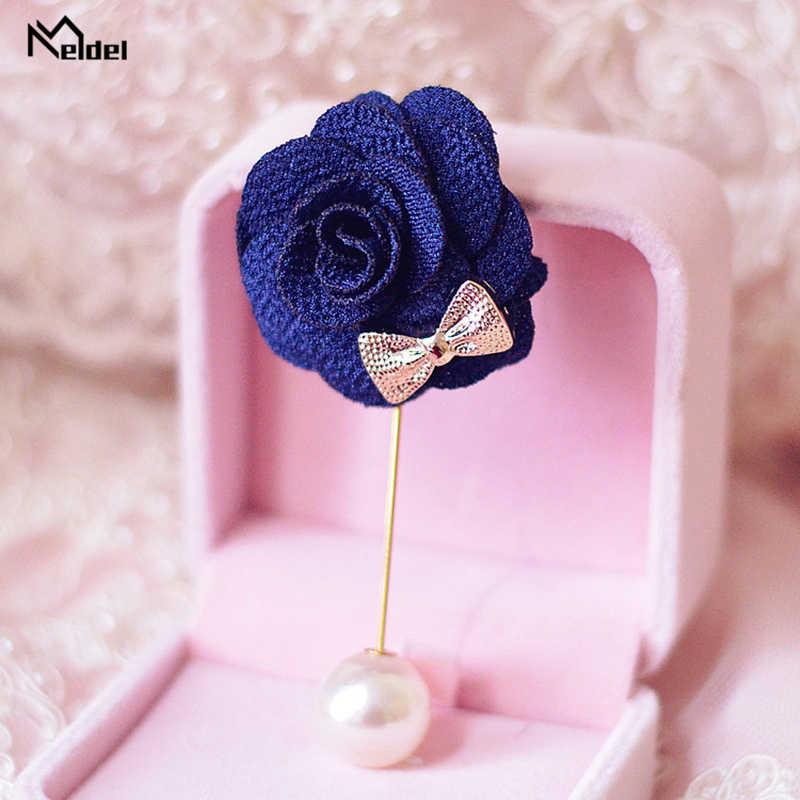 Broche de perlas de Meldel para mujer, ramillete de boda con ramillete y ojal, accesorios matrimoniales para hombre rosa de tela con ojal