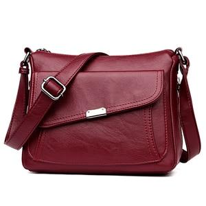 Image 1 - Summer Style 2020 Bolsas Soft Leather Luxury handbags Women bags Designer Multi pocket Crossbody Shoulder Bags For Women Sac