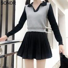 Осенний милый свитер для девочек базовые женские вязаные топы