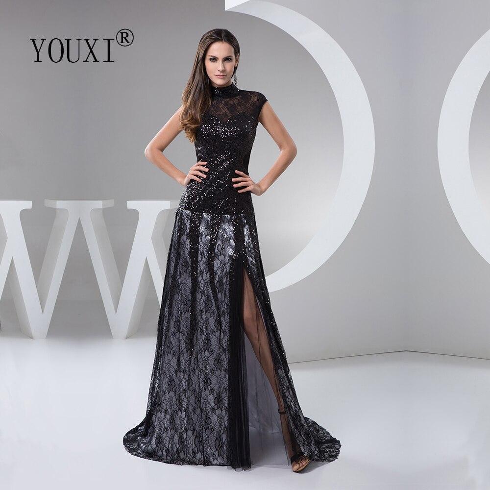 Mejor Precio Vestido De noche de encaje De lentejuelas negras de cuello  alto De Soiree 14 vestido de fiesta Formal abendkleider Lang October 14