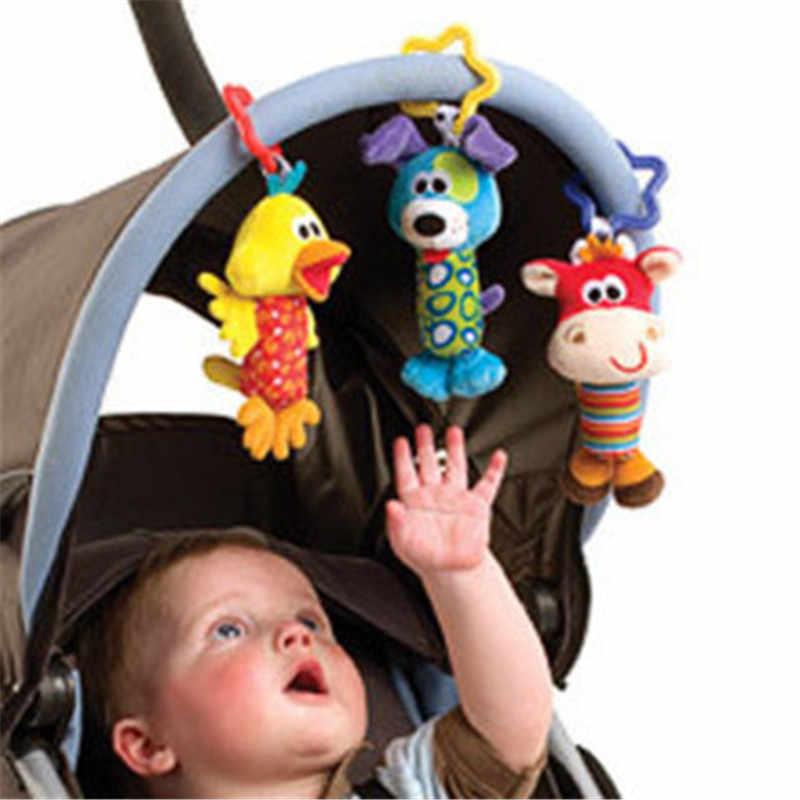 1 PC Bayi Anak-anak Bearoom Rattle Mainan Kartun Hewan Plush Tangan Bell Kereta Dorong Bayi Tempat Tidur Gantung Mainan Mainan Bayi Tempat Tidur menggantung Hadiah