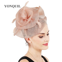 millinery hat sinamay flower wedding fascinator hat with clips women fancy feather decor on hair bands charming headdress SYF707
