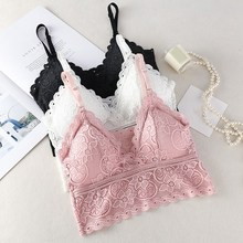 Women Wireless Bra Lace Bralette Deep V Padded Bras Feamle Crop Top Embroidery Floral Tank Top