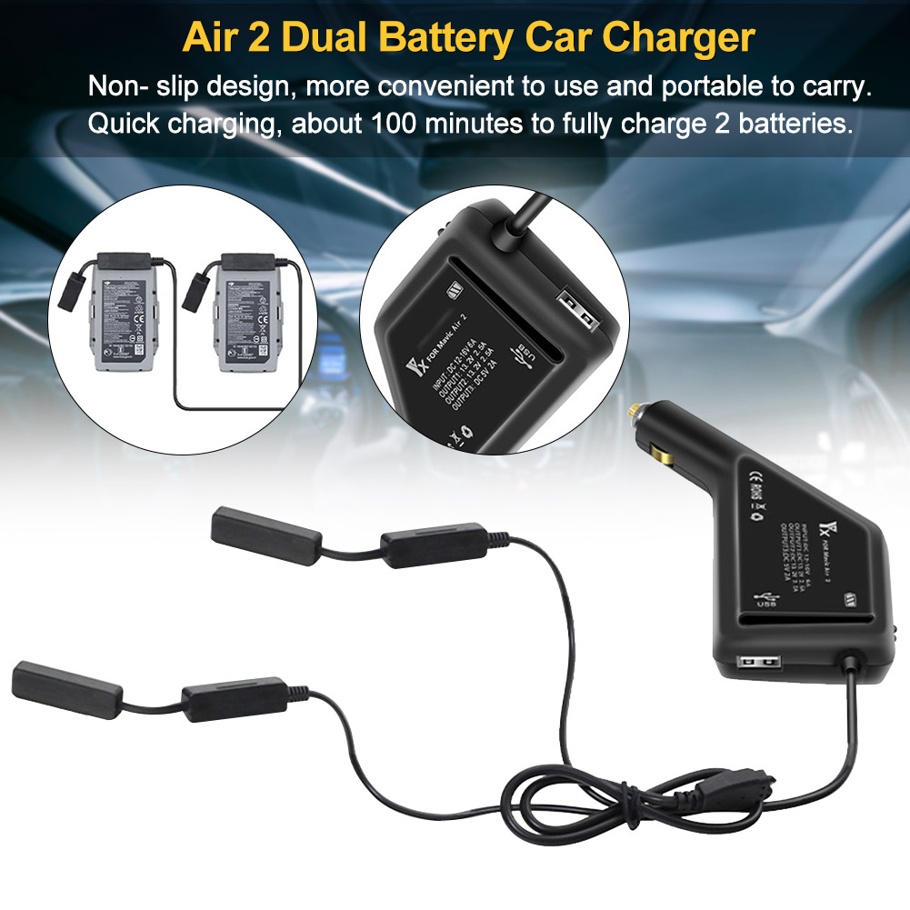 USB Port Quick Charging Portable Drone Accessories Car Charger Travel Outdoor Camping Practical Dual Battery For Mavic Air 2