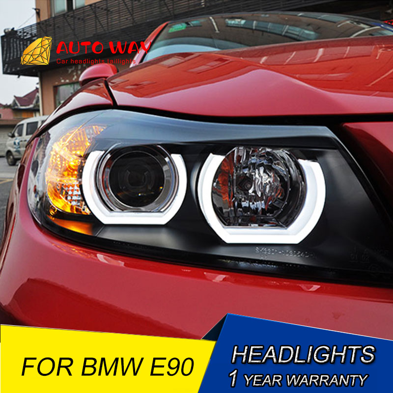 Car Styling Car Headlights Case For BMW E90 headlights 318i 320i 325i E90 Headlight LED Angel eyes for 318 320 325 Bi Xenon Len image
