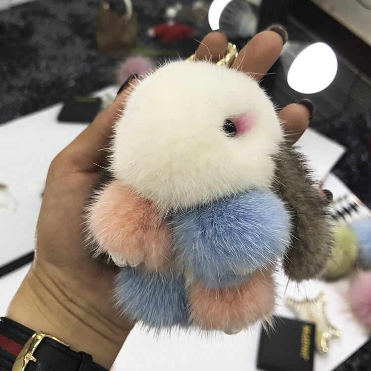 Mink fur colorful rabbit doll pendant cute bag pendant genuine leather grass pendant lovely key chain