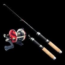 Pé peixe 60cm mini vara de pesca no gelo carretel de pesca de carbono pólo de camarão gelo hastes de peixe para o inverno peche carpa vara