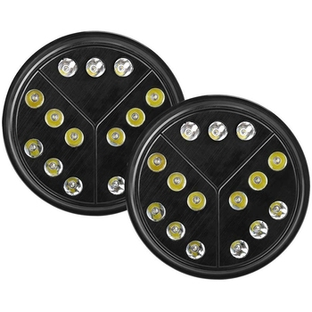 Pair 7 Inch Round Style Led Headlights with Hi/Lo Beam for Jeep Wrangler JKU Jk Tj CJ TJ H4-H13 Adapter