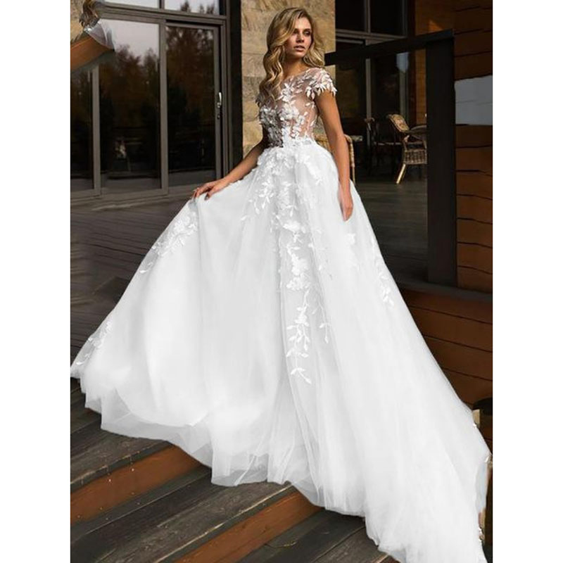 Eightale Boho Wedding Dresses Lace O-Neck Bridal Dress Cap Sleeves Custom Made Appliques Wedding Gowns 2020 Vestido Novia