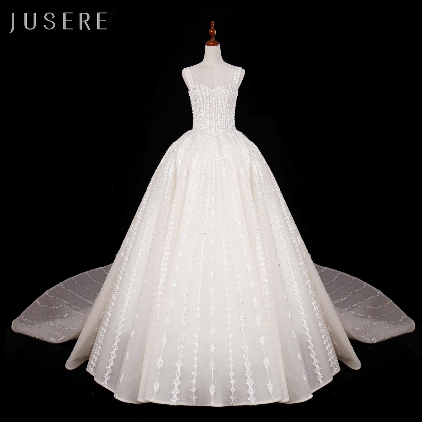 Luxury Cathedral Exquisite Dubai Wedding Dress Lebanese Crystal Wedding Dress with Big Train