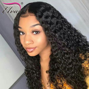 Image 5 - Elva Hair 13x6 Curly Lace Front Human Hair Wigs Pre Plucked Hairline Brazilian Remy Hair Lace Wig With Baby Hair Natural Color