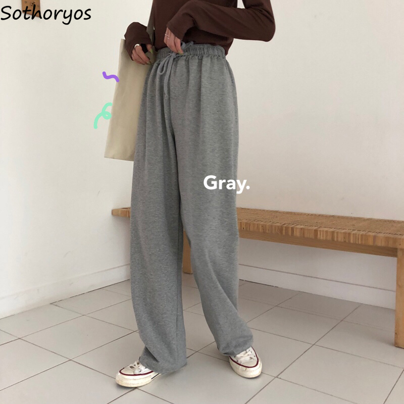 Women Pants Leisure Straight Soft Comfortable High Waist Womens Trousers Solid Simple All-match Harajuku Korean Chic Fashion HOT