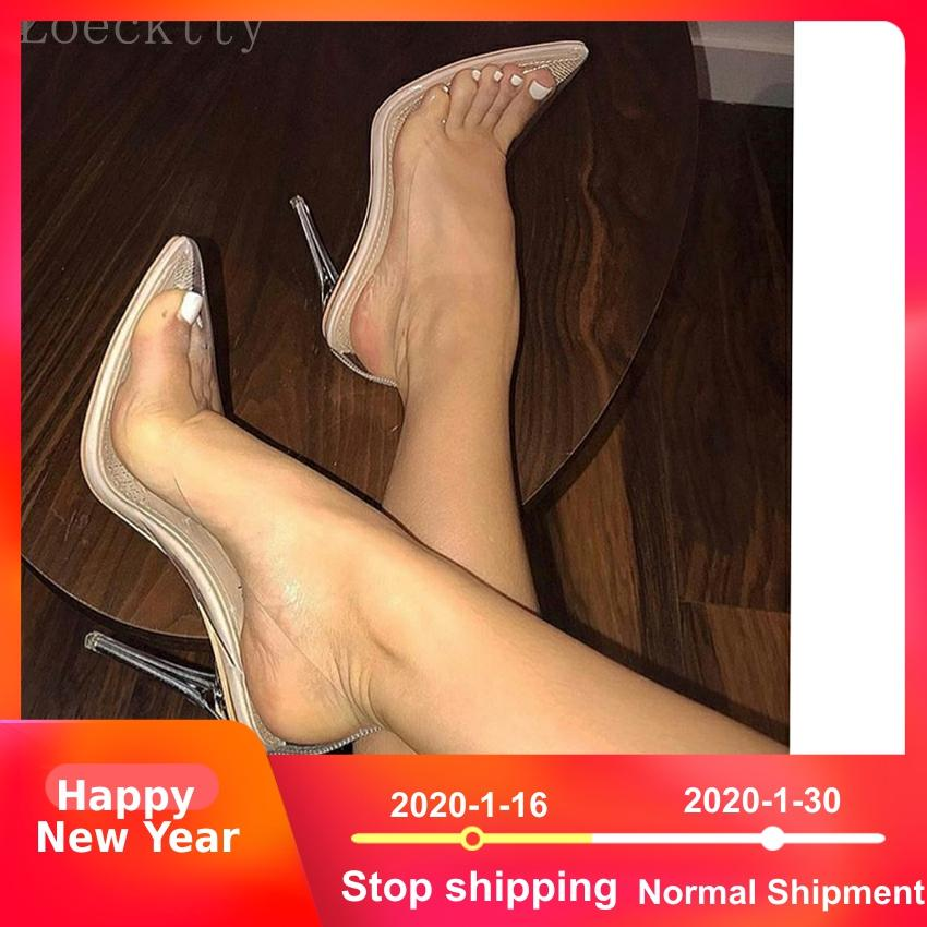 2019 Clear PVC Transparent Pumps Sandals Perspex Heel Stilettos High Heels Point Toes Womens Party Shoes Nightclub Pump Size 42