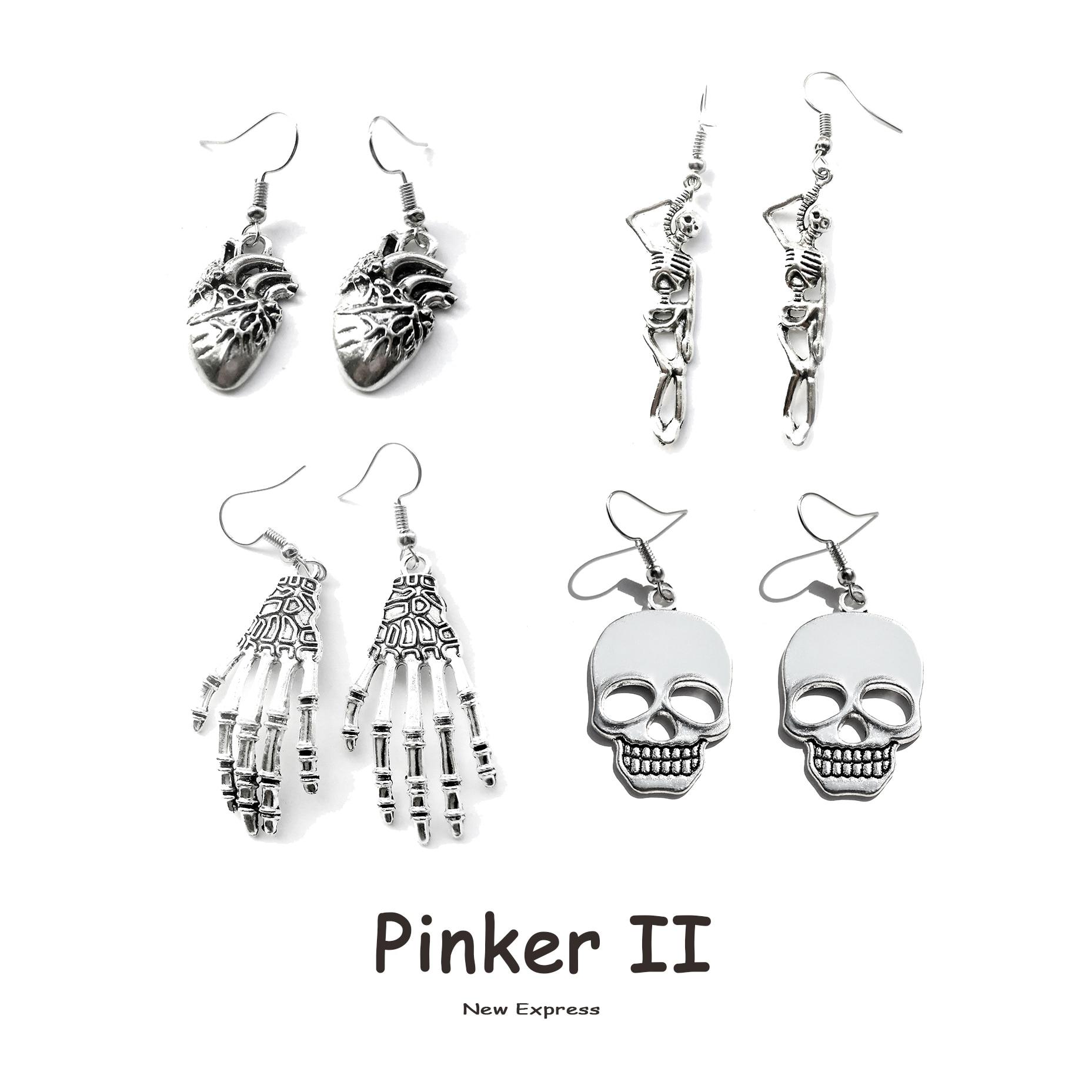 Earrings for Women Girls Drop Dangle Teens Charm Gift Party Simple Punk Cool Halloween Skull Cross Horror Skeleton Death Bat