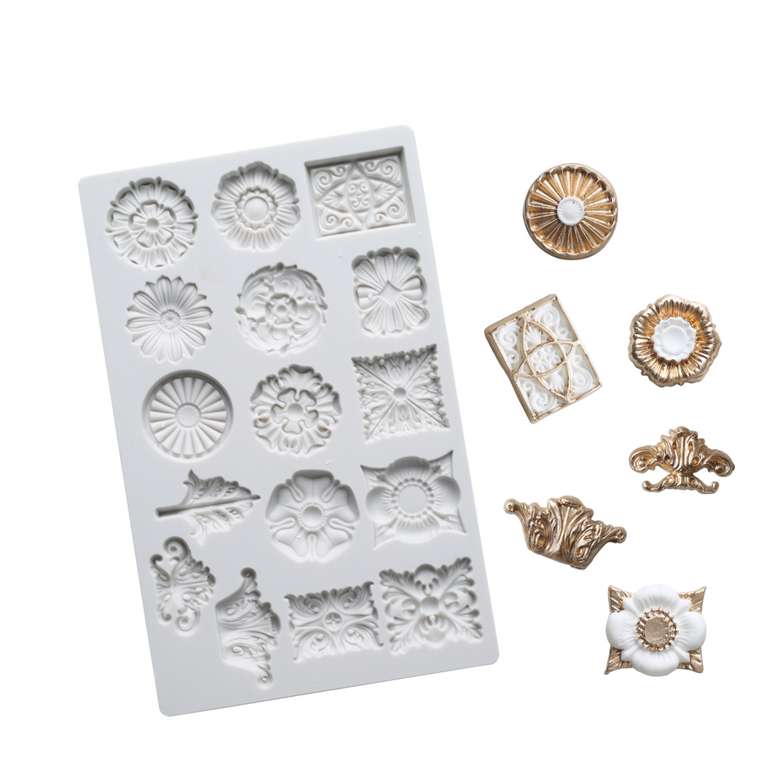 Retro Relief Gemstone Mould <font><b>Silicone</b></font> <font><b>Mold</b></font> <font><b>Fondant</b></font> <font><b>Cake</b></font> <font><b>Decorating</b></font> <font><b>Tool</b></font> Gumpaste Sugarcraft Chocolate Forms Bakeware <font><b>Tools</b></font> K766 image