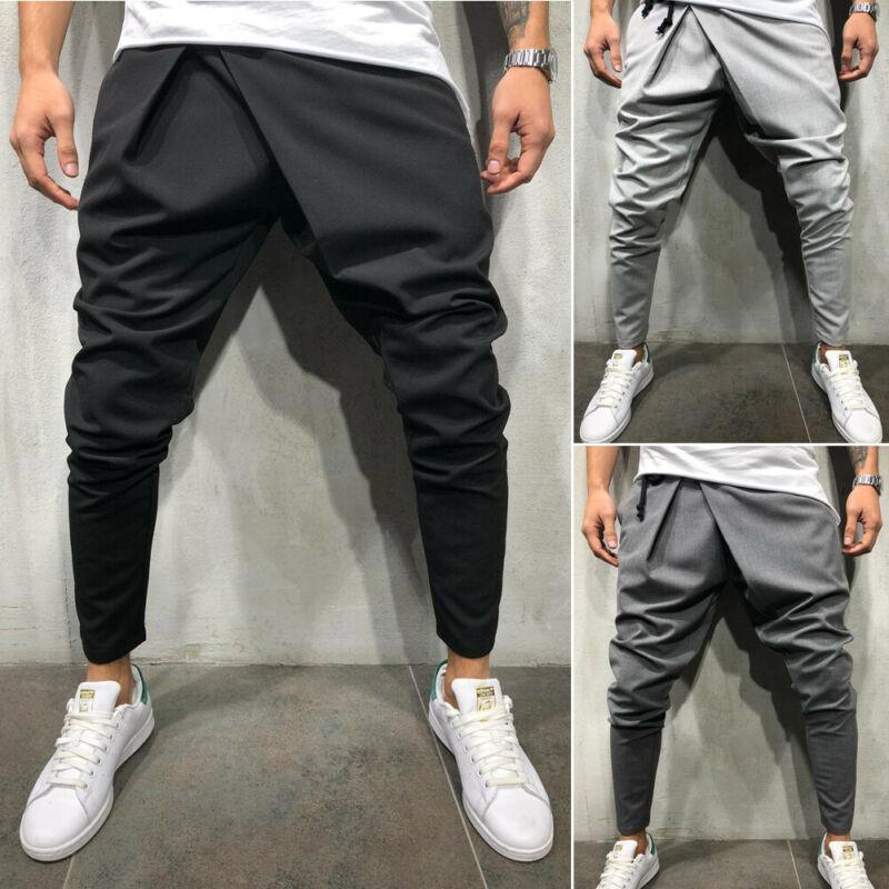 Pantalon de survêtement pour hommes, nouveau Style de mode, uni, Slim, manchette, décontracté, uni, 2020 4