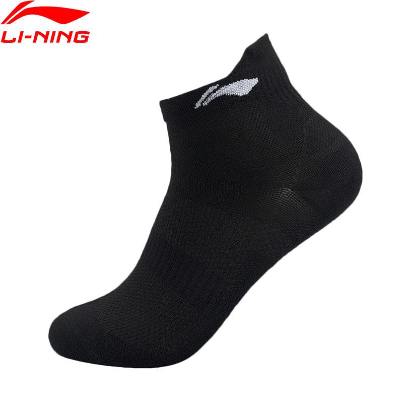 Li-Ning Men Running Mid Cut Socks Polyester Cotton Spandex 39-46 Size LiNing Li Ning Quick Dry Sports Socks AWSQ008 NWM467