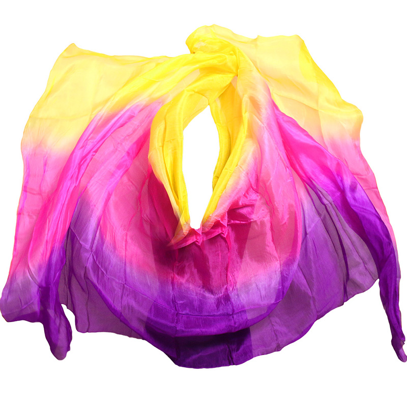 Customized Belly Dance Silk Veils Free Shipping 200cm 250cm 270cm Hand Thrown Scarf Shawl Yellow Orange Pink Purple Gradient