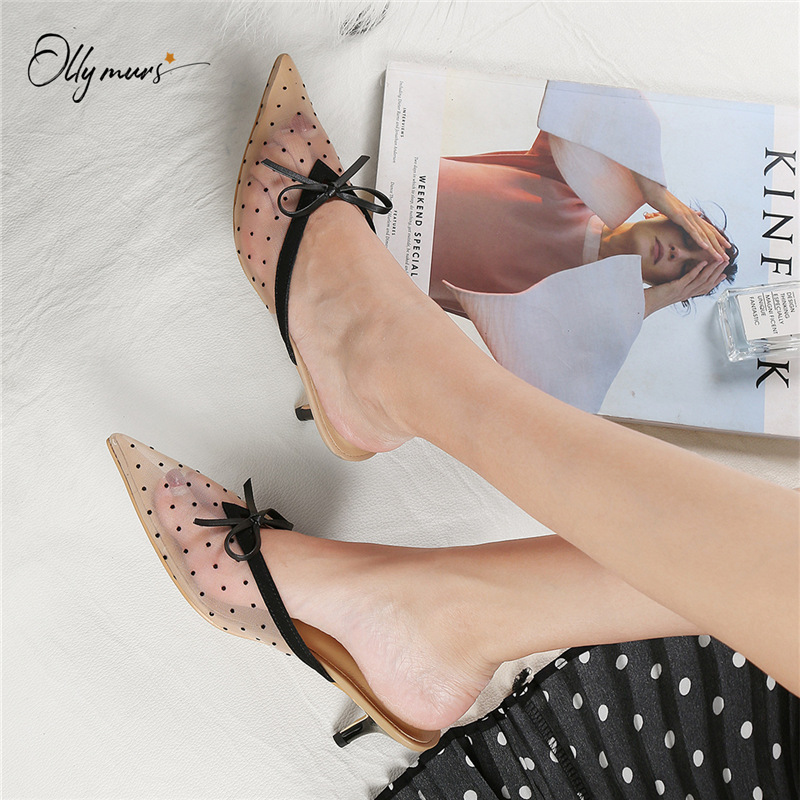 OllyMurs Fashion Spring Summer Shoes Woman Slippers Pointed Toe Black Air Mesh Women Mules Shoes Slippers Mules Shoes Woman