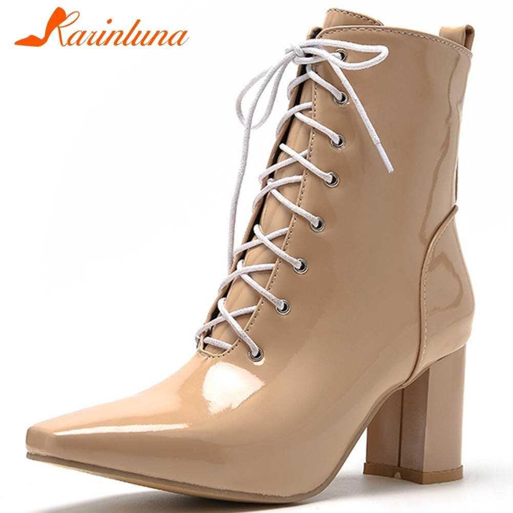 Karinluna 2019 ขนาดใหญ่ 47 คุณภาพสูง shoelaces รองเท้าผู้หญิงรองเท้ารองเท้าผู้หญิง elegant chunky รองเท้าส้นสูงข้อเท้ารองเท้าผู้หญิงรองเท้า