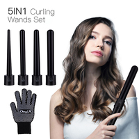 5 in1 Professional Ceramic Hair Curler 09-32mm Removable Cylindrical Hair Curling Iron Wand Rollers+Glove Hair Salon Styling 42