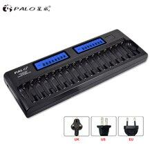 PALO 8/12/14/16/24 슬롯 스마트 충전기 LCD 디스플레이 지능형 배터리 충전기 1.2V AA AAA 니켈 수소 NiCd 충전식 배터리