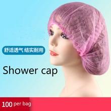 100PCS Shower Cap Double Ribbon Nonwoven Disposable Shower Cap Pleated Anti Dust Hat Bath