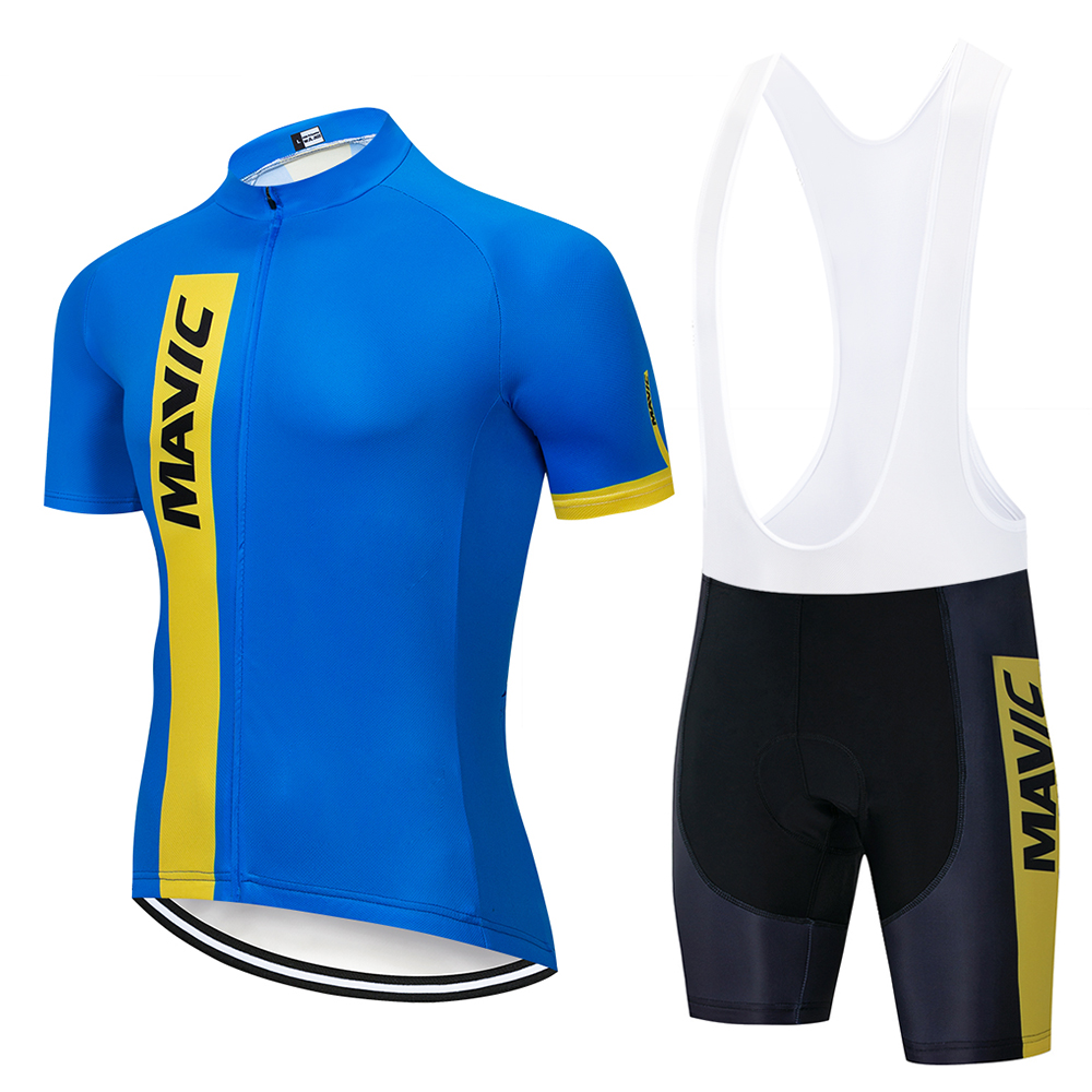 Mavic 2020 Pro Team Men's Summer Breathable Short Sleeve Cycling Jersey MTB Bike Outdoor Clothing 19D Gel Pad Bib Shorts Set
