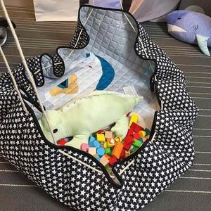 Image 5 - Portable Kids Toy Storage Bag And Play Mat Baby Crawling Blanket Mat/Rug/Carpet For Children   Soft Cartoon Toys Organizer Round