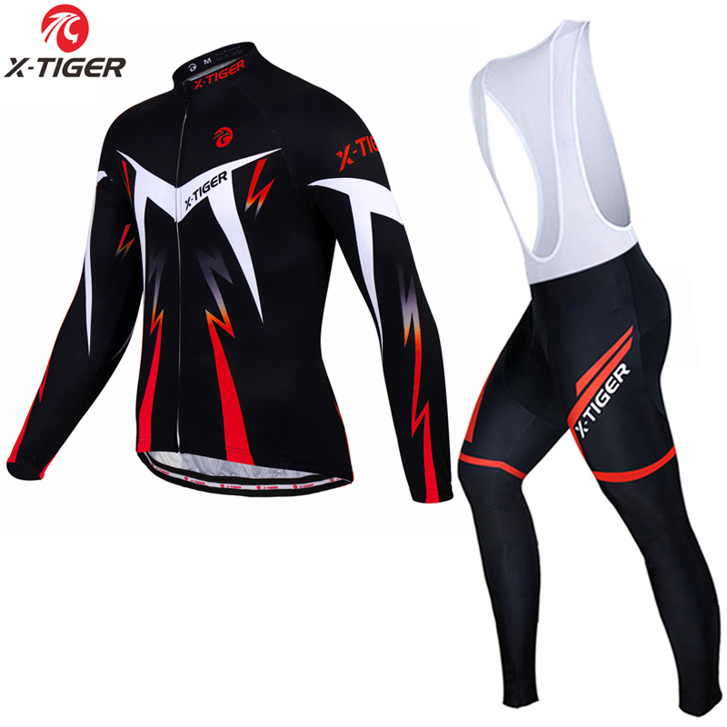 X-Tiger Winter Thermal Fleece Cycling Jerseys Set Long Sleeve MTB Bicycle Clothing Mountain Bike Clothes Sportswear Wear Suit