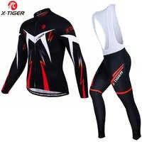 X-tiger hiver thermique polaire cyclisme maillots ensemble à manches longues vtt vélo vêtements VTT vêtements vêtements de sport