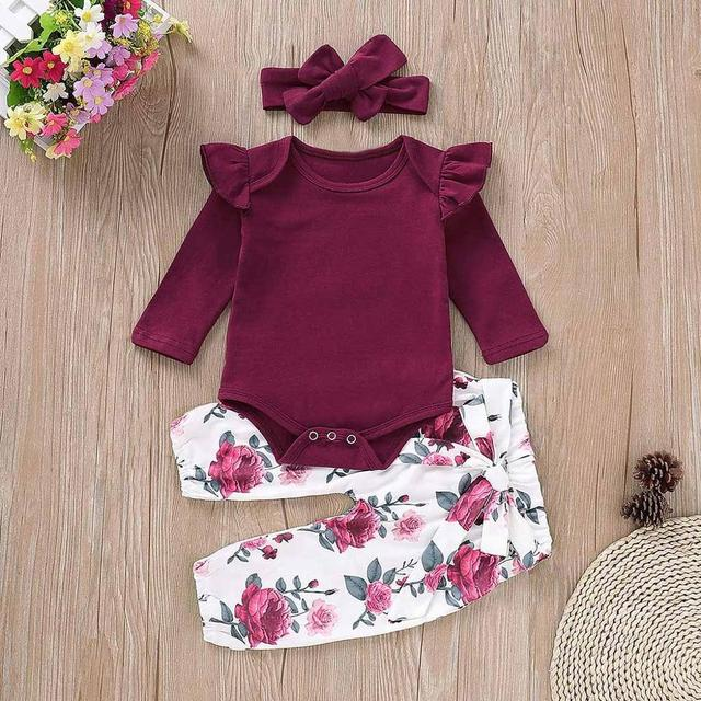 Toddler Baby Girls SET 3PCS Winter Long Sleeves Solide Romper Tops+Floral Pants+Headbands newborn clothes unisex infant clothing | Happy Baby Mama