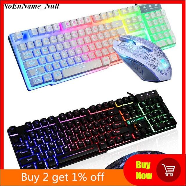 Teclado ergonómico T6 Rainbow retroiluminado con LED para USB de Gaming, ratón y alfombrilla de ratón con cable para PC, portátil, usuarios de ordenador Gamers